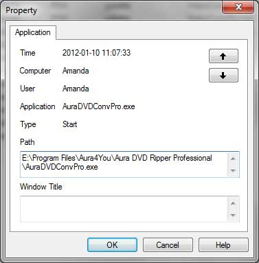 View Application Log Property