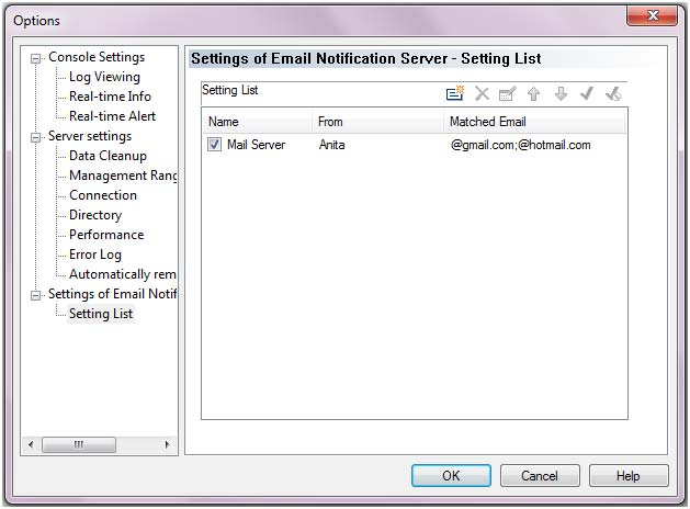 Settings of Email Notification Server